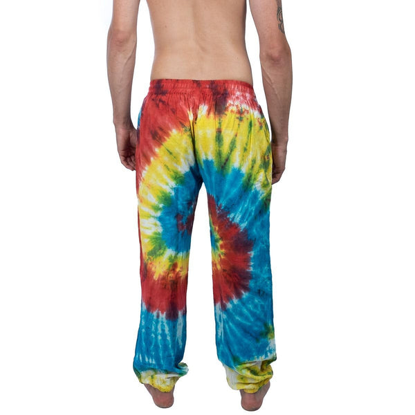 100% Cotton Rainbow Bleaching Tie-Dye Unisex Pants. Loose Fittings Hippie Boho  Psychedelic Festival Trousers - Ethnic-Tara