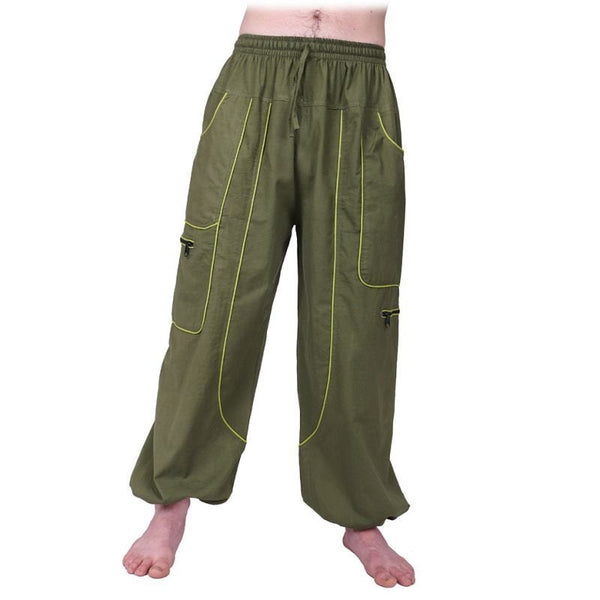 100% Cotton Pants. Men Trousers. Loose Fittings. Hippie Boho Pants. Cotton Thick Fabric. Aladdin - Ethnic-Tara