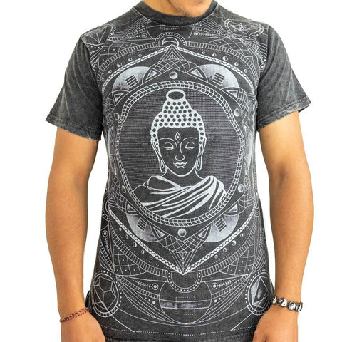 Meditation Buddha Nepalese Men Yoga Cotton Tees with Mandalas. 100% Cotton T-shirt. - Ethnic-Tara