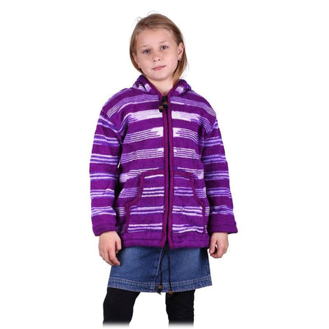 100% Sheep wool Hand Knitted with Fleece Lining Purple  Pullover Sweater Children & Toddlers. - Ethnic-Tara