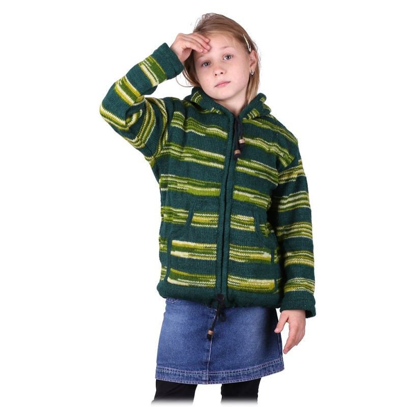 100% Sheep Wool Fleece Lining Green Pullover Sweater for Children & Toddler | Unisex Hand Knitted - Ethnic-Tara
