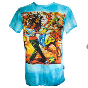 Short Sleeves Festival Tees Bob Marley Partying Guitar Psychedelic 100% Cotton, Summer Wear T-Shirt - Ethnic-Tara