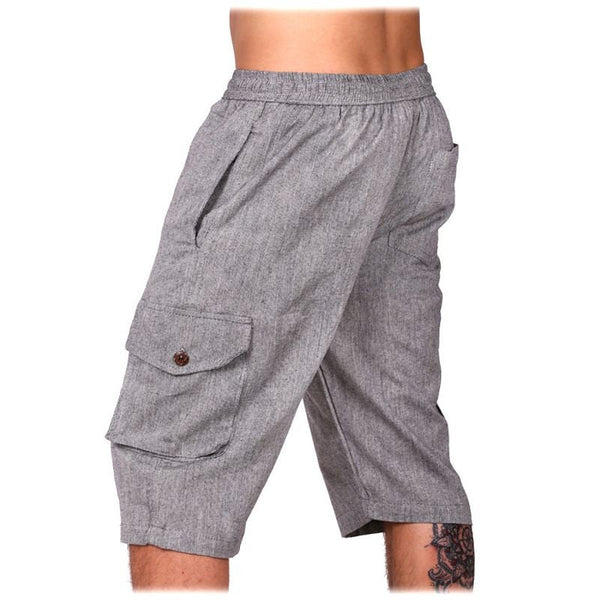 100% Cotton Summer Gray Color Boho Comfy Hippie Shorts. Drawers, short pants, Festival Ethno style - Ethnic-Tara
