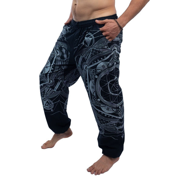 100% Cotton Black Mandalas Pants of Loose Fittings for Hippi and Boho Look. Psychedelic Festival - Ethnic-Tara