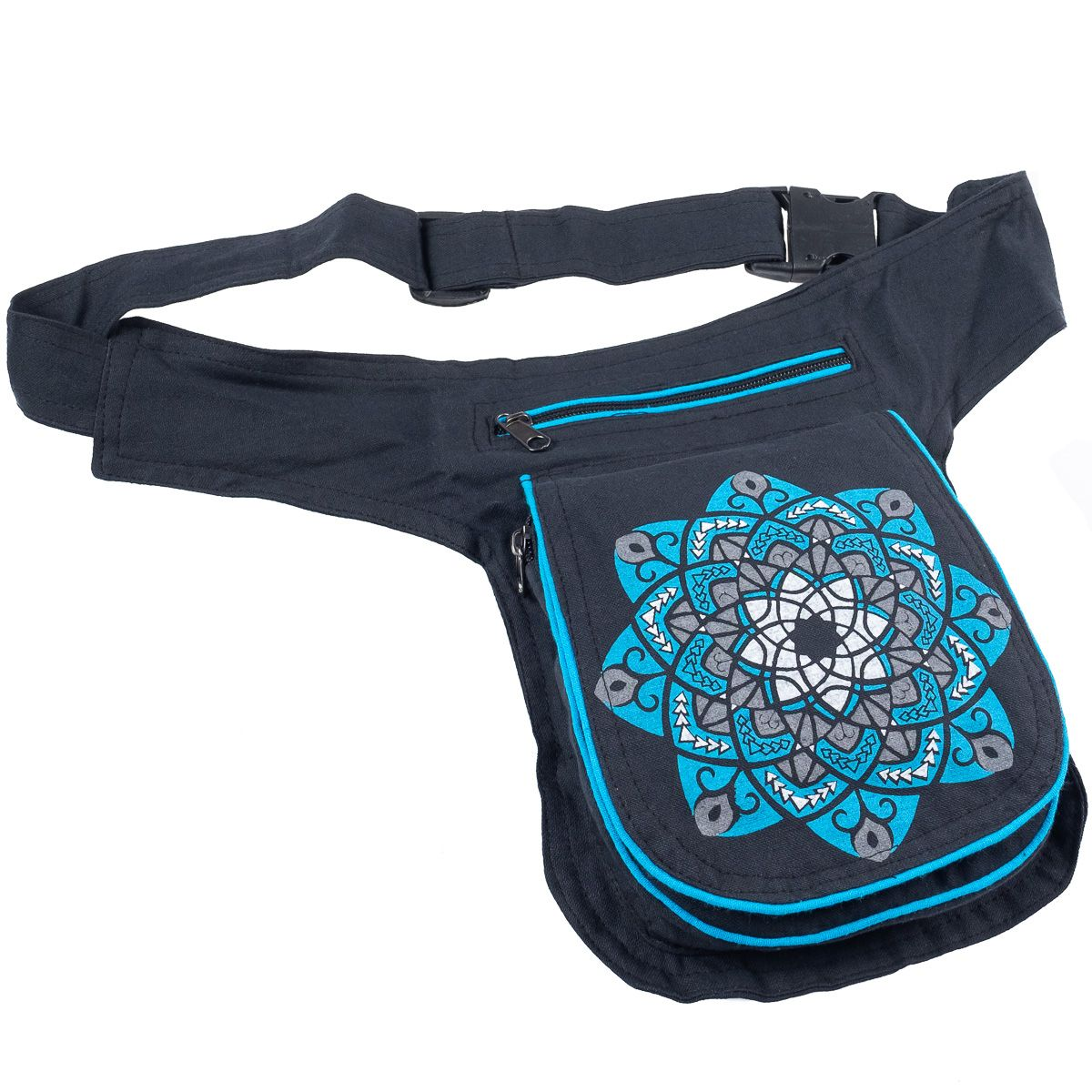 Mandala Cotton Fairtrade Money Belt, Fanny Pack Waist Belt. Festival Bag. Handmade Nepalese - Ethnic-Tara
