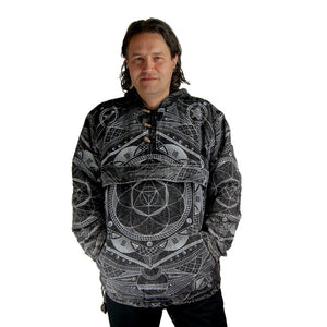Black Color Fair Trade Cotton Mandala Hoodie Jacket. Men Woolen Nepalese Handmade with Fleece Lining - Ethnic-Tara
