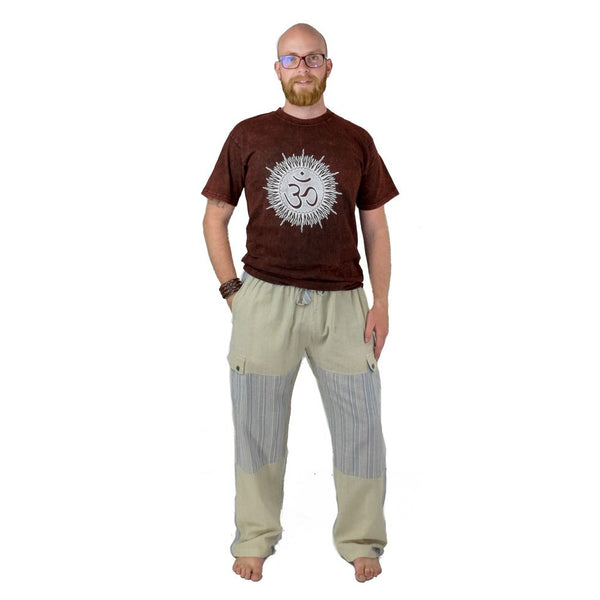 100% Cotton Men Cream with Gray pastel Color Pants. Summer Wear Loose Fitting Boho Trousers, Hippie - Ethnic-Tara