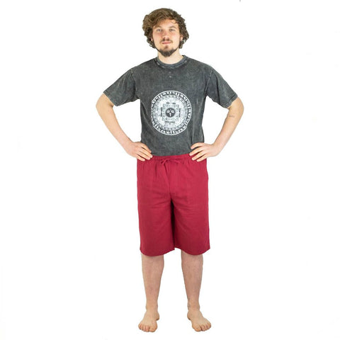 100% Cotton Summer Earth Burgundy Color Boho Comfy Hippie Short Pants. Festival Ethno style Short - Ethnic-Tara
