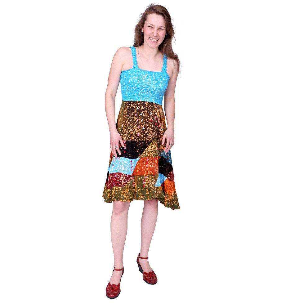 Dress Bohemian Cut sleeves Clothing with Handmade Flowers Tribal Design - Ethnic-Tara