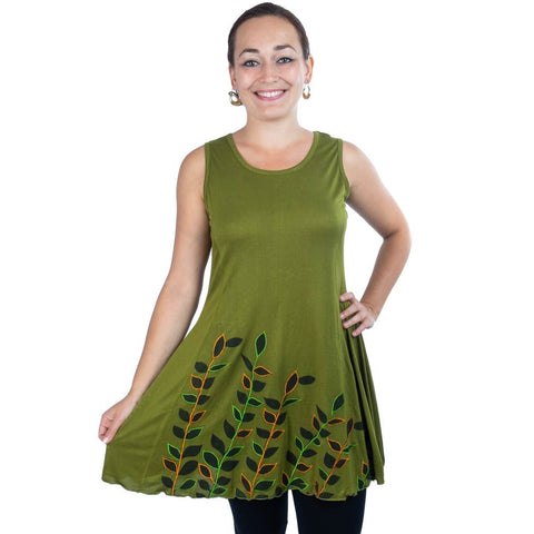 Dress Boho Sleeveless Clothing Skirt with Hand made Embroidered Petals - Ethnic-Tara