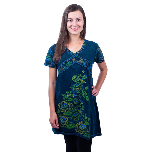 Dress Bohemian short sleeves Clothing with Flowers & Petals Tribal Design. Tunic Top Dress - Ethnic-Tara