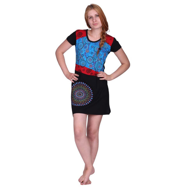 Razor Cut Dress Bohemian Small sleeves Clothing with Flowers Mandala Tribal Design. Tunic Top Dress - Ethnic-Tara