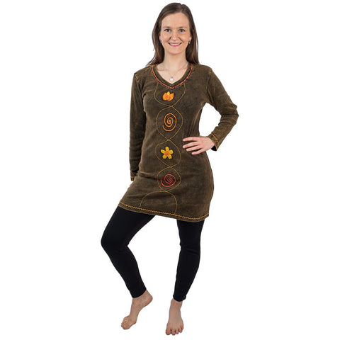 Dress Bohemian Long sleeves Clothing with hand stitched Flowers Tribal Design. Tunic Top Dress - Ethnic-Tara