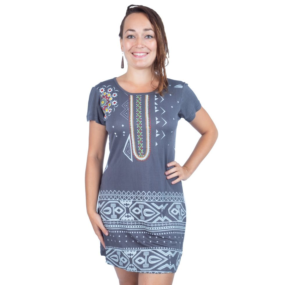 Dress Bohemian short sleeves Clothing with Tribal Designs. Stitched Embroidered shoulder - Ethnic-Tara