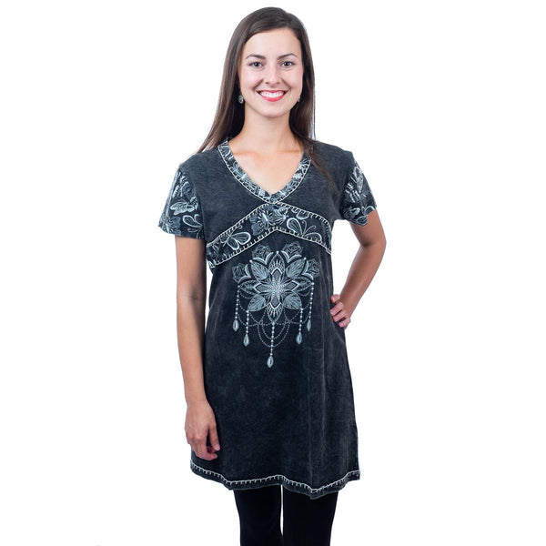 Dress Bohemian short sleeves Clothing with Mandala Tribal Design. Tunic Top Dress - Ethnic-Tara