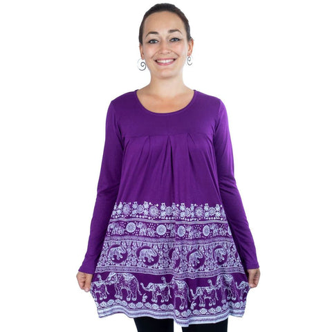 Cotton Dress Bohemian Long / Full  sleeves Clothing with Elephant Motif Tribal Design Dress Top - Ethnic-Tara