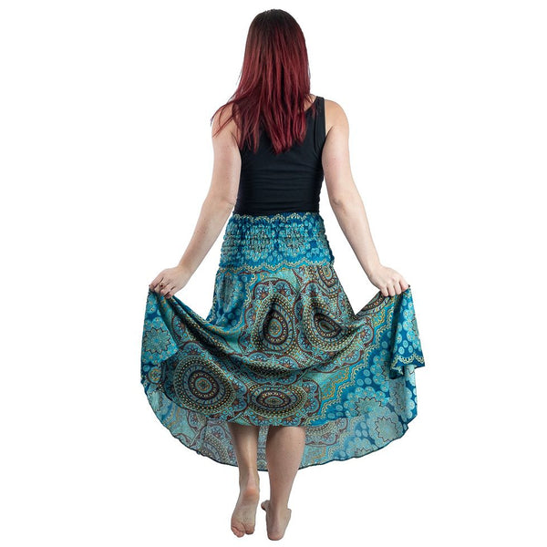 Skirt cum Beach Dress Boho Clothing Skirt with Mandala. Ankle High Skirt and Belt Daily Wear Skirt - Ethnic-Tara