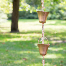 Load image into Gallery viewer, Marrgon Copper Rain Chain – Decorative Chimes & Cups Replace Gutter Downspout & Divert Water Away from Home for Stunning Fountain Display – 6.5' Long for Universal Fit – Bell Style