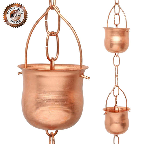 Marrgon Copper Rain Chain – Decorative Chimes & Cups Replace Gutter Downspout & Divert Water Away from Home for Stunning Fountain Display  – Pot Style