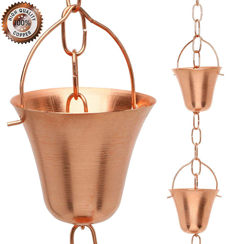 Marrgon Copper Rain Chain – Decorative Chimes & Cups Replace Gutter Downspout & Divert Water Away from Home for Stunning Fountain Display – 6.5' Long for Universal Fit – Bell Style