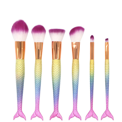 6pcs mermaid makeup brush set