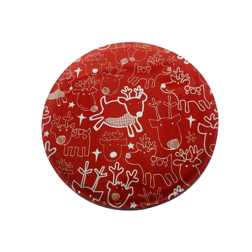 Red Reindeer Round Tin