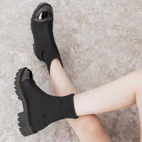 Trendy Black Stretch Fabric Ankle Chelsea Boots with Non Slip Rubber Outsole - Creative Dreamscape