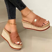 Comfortable Wedge Heeled Platform Sandals - Creative Dreamscape