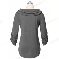 Nice-Forever Winter Women Solid Black Color with Pocket T-shirts Casual Tees tops - Creative Dreamscape