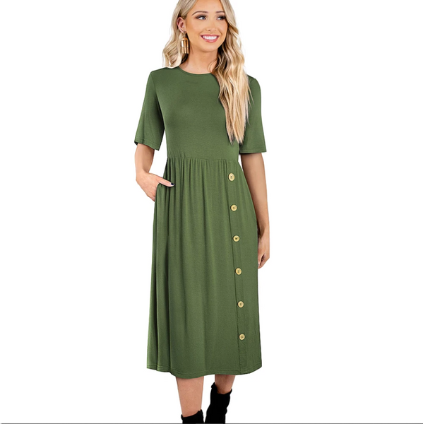 Nice-forever New Spring Solid Color with Pocket Round Neck Dresses Casual A-Line Women Flare Swing Dress - Creative Dreamscape