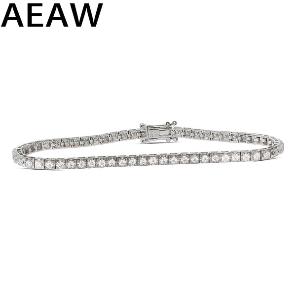 Trendy Style Solid 10K 2.5CTW Yellow/White Gold DF Color Moissanite Lab Grown Diamond Bracelet Charm for Women - Creative Dreamscape