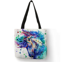 New Arrival Totes Bag Lady Rainbow Horse Art Painting Shoulder Bag Eco Linen Casual Fashion Office School Handbags for Women - Creative Dreamscape