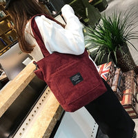 Women Corduroy Shopping Bags Reusable Tote Ladies Casual Shoulder Bag Foldable Beach Shopping Bag Cotton Cloth Female Handbag - Creative Dreamscape