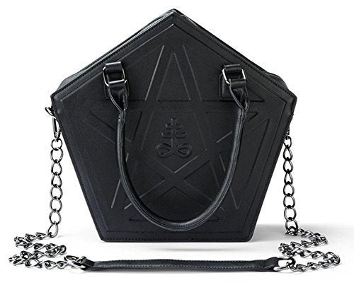 JIEROTYX Pentagram Punk Darkness Gothic Star Handbag Women Girl Black PU Soft Leather Shoulder Bag With Chain High Quality - Creative Dreamscape