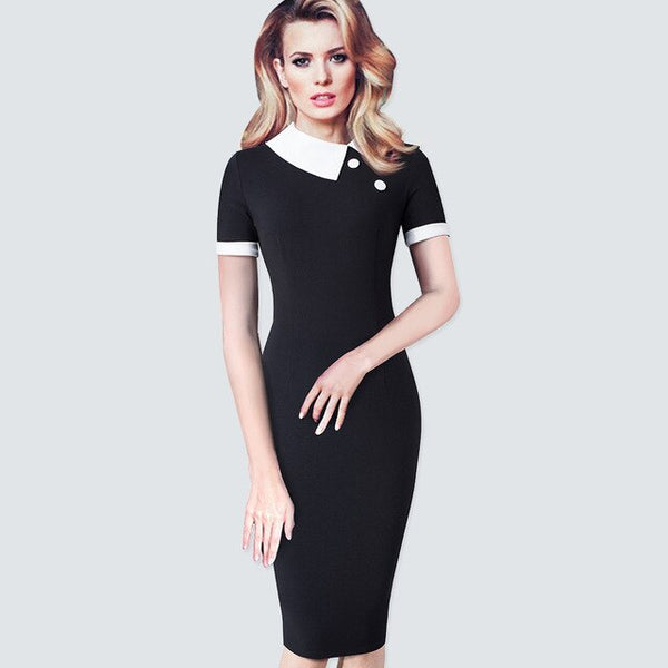 New Summer Patchwork Black Dot Office lady Formal Dress Small button Vintage Business Pencil Dress HB506 - Creative Dreamscape