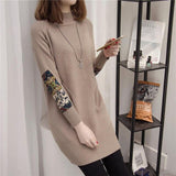 Women's head in the long sweater 2019 new Korean version of the self-cultivation knit bottoming shirt loose wild autumn and wint - Creative Dreamscape