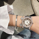Super Rose Gold Diamond Ladies Watch Women New Dress Watches New Luxury Leather Strap Woman Quartz Watch Clock reloj mujer - Creative Dreamscape