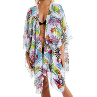 Sexy Chiffon Perspective Beach Dress Women Summer Printed Floral Beach Tunics Shawl Cardigan Beach Cover Up Kaftan Beach Cape - Creative Dreamscape
