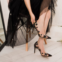 Transparent crystal high heel stiletto pointed star sequin bridesmaid wedding shoes ladies high heels - Creative Dreamscape