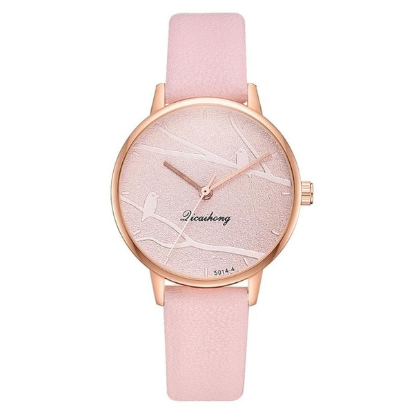 Fashion Women Sweet Watches Fashion Dress Ladies Watch Elegant Bird Leather Strap Quartz Wristwatch Clock Women Exquisite Watch - Creative Dreamscape