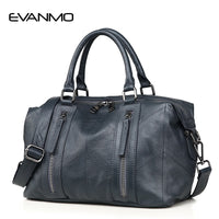 EVANMO Ladies Fashion Tote Genuine Leather Luxury Handbags Double Zipper Bags Elegant Female Messenger Crossbody Fashion Purse - Creative Dreamscape