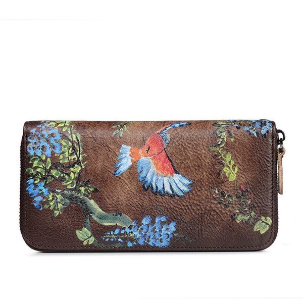 SOUTH GOOSE Genuine Leather Women Wallet Luxury Long Purse Birds Embossing Clutch Bag High Quality Female Card Holder Phone Bag - Creative Dreamscape