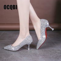 HOT 2019 new style Wedding bride shingle high-heeled shoes pointy bridesmaid gold powder crystal banquet shoes bling high heels - Creative Dreamscape