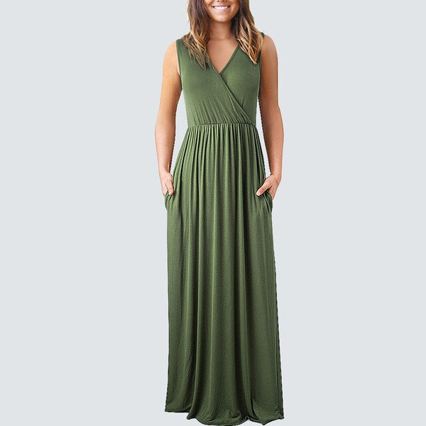 Women sleeveless casual Long sundress V neck sexy solid color Loose beach dress HA162 - Creative Dreamscape