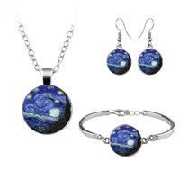 Van Gogh Gustav Klimt Painting Jewelry Sets The Starry Night Glass Dome Earrings Necklace Bracelets For Women Vintage Jewellery - Creative Dreamscape