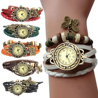 Unique Butterfly Vintage jewelry Watch Women Lady Vintage Retro Rivet Braided Bracelet Leather Strap Dress Watch Sister Gift LL - Creative Dreamscape