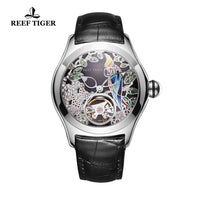 2019 Reef Tiger/RT Top Brand Fashion Watches for Women Automatic Tourbillon Watches Leather Band Steel Watch RGA7105 - Creative Dreamscape
