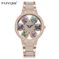 FUYIJIA Luxury Female Watch Full Diamond Quartz Watch Woman Watches Hollow Relief 3D Fashion Butterfly Crystal Clock Steel Strip - Creative Dreamscape