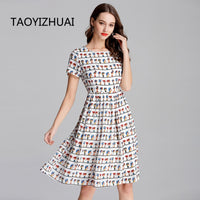 TAOYIZHUAI New Arrival Animal Print Sweet Casual Style Knee Length Short Sleeves Empire Waist Plus Size Lady's Dress 11666 - Creative Dreamscape