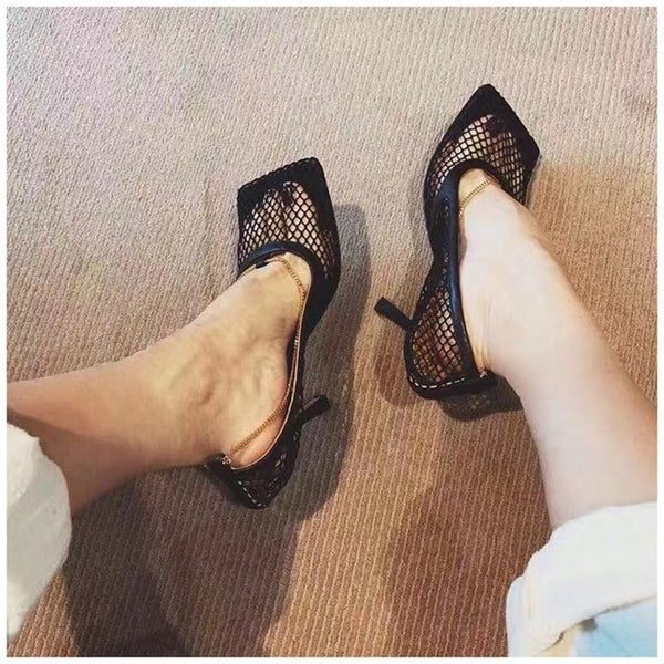 SUOJIALUN 2019 Fashion Brand Women Pumps Sexy Hollow Mesh Summer Sandal High Heels Woman Party Shoes Square Toe Ladies Dress Sho - Creative Dreamscape